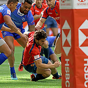 Samoa could not compete against Spain made evident by their embarassing 0-24 loss at the Canada 7's, Day 2, BC Place, Vancouver, British Columbia, Canada.  Photo by Barry Markowitz, 3/11/2018, 10:30am