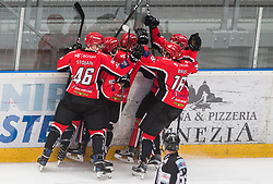 Players of Jesenice celebrate after scoring fouth goal during ice hockey match between HDD SIJ Acroni Jesenice and HK SZ Olimpija in 10th Round of AHL - Alps Hockey League 2017/18, on October 14, 2017 in Arena Podmezakla, Jesenice, Slovenia. Photo by Vid Ponikvar / Sportida