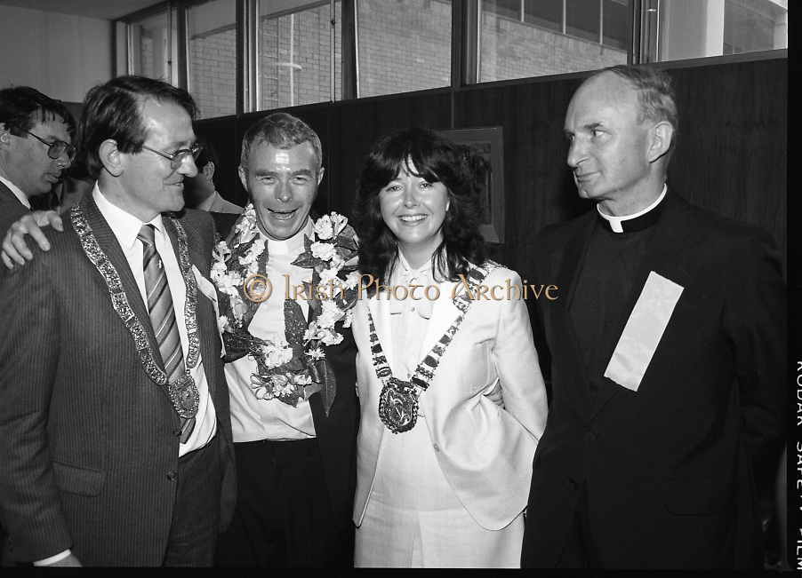 """Fr Niall O'Brien Returns from Captivity.1984..14.07.1984..07.14.1984..On 6 May 1983,Fr Niall O'Brien was arrested along with two other priests, Fr. Brian Gore, an Australian, Fr. Vicente Dangan, a Filipino and six lay workers - the so-called """"Negros Nine"""", for the murders of Mayor Pablo Sola of Kabankalan and four companions. The priests where held under house arrest for eight months but """"escaped"""" to prison in Bacolod City, the provincial capital, where they felt they would be safer.The case received widespread publicity in Ireland and Australia, the home of one of the co-accused priests, Fr. Brian Gore. When Ronald Reagan visited Ireland in 1984, he was asked on Irish TV how he could help the missionary priest's situation. A phone call the next day from the Reagan administration to Ferdinand Marcos resulted in Marcos offering a pardon to Fr. O'Brien and his co-accused..(Ref Wikipedia)..."""