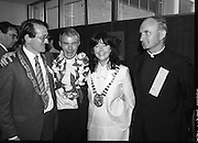 "Fr Niall O'Brien Returns from Captivity.1984..14.07.1984..07.14.1984..On 6 May 1983,Fr Niall O'Brien was arrested along with two other priests, Fr. Brian Gore, an Australian, Fr. Vicente Dangan, a Filipino and six lay workers - the so-called ""Negros Nine"", for the murders of Mayor Pablo Sola of Kabankalan and four companions. The priests where held under house arrest for eight months but ""escaped"" to prison in Bacolod City, the provincial capital, where they felt they would be safer.The case received widespread publicity in Ireland and Australia, the home of one of the co-accused priests, Fr. Brian Gore. When Ronald Reagan visited Ireland in 1984, he was asked on Irish TV how he could help the missionary priest's situation. A phone call the next day from the Reagan administration to Ferdinand Marcos resulted in Marcos offering a pardon to Fr. O'Brien and his co-accused..(Ref Wikipedia)..."