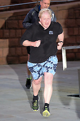 (c) Licensed to London News Pictures. <br /> 03/10/2017<br /> Manchester, UK<br /> <br /> Foreign Secretary Boris Johnson returns from his morning run at the Conservative Party Conference held at the Manchester Central Convention Complex.<br /> <br /> Photo Credit: Ian Forsyth/LNP
