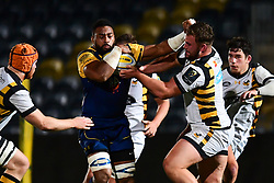 Andrew Durutalo of Worcester Cavaliers fends off Will Stuart of Wasps - Mandatory by-line: Craig Thomas/JMP - 23/10/2017 - RUGBY - Sixways Stadium - Worcester, England - Worcester Cavaliers v Wasps - Aviva A League