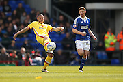MK Dons midfielder Samir Carruthers (14) plays the ball forward during the Sky Bet Championship match between Ipswich Town and Milton Keynes Dons at Portman Road, Ipswich, England on 30 April 2016. Photo by Simon Davies.