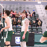 4th year outside hitter Brennan Goski (13) of the Regina Cougars in action during Men's Volleyball home game on January 13 at Centre for Kinesiology, Health and Sport. Credit: /Arthur Images 2018