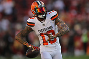 Cleveland Browns wide receiver Odell Beckham (13) warms up before an NFL football game against the San Francisco 49ers, Monday, Oct. 7, 2019, in Santa Clara, Calif. The 49ers defeated the Browns (Peter Klein/Image of Sport)