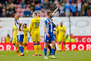 Wigan Athletic midfielder Michael Jacobs (17) scores a goal and celebrates to make the score 1-1 during the EFL Sky Bet League 1 match between Wigan Athletic and AFC Wimbledon at the DW Stadium, Wigan, England on 28 April 2018. Picture by Simon Davies.