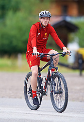 ROTTACH-EGERN, GERMANY - Friday, July 28, 2017: Liverpool's Andy Robertson cycles to a training session at FC Rottach-Egern on day three of the preseason training camp in Germany. (Pic by David Rawcliffe/Propaganda)