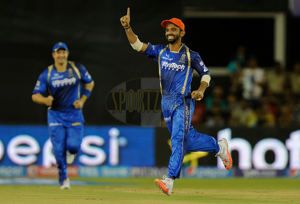 Ajinkya Rahane of Rajasthan Royals runs to celebrate the wicket of Virender Sehwag of Kings XI Punjab during match 18 of the Pepsi IPL 2015 (Indian Premier League) between The Rajasthan Royals and The Kings XI Punjab held at the Sardar Patel Stadium in Ahmedabad , India on the 21st April 2015.<br /> <br /> Photo by:  Pal Pillai / SPORTZPICS / IPL