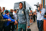 Leeds United forward Helder Costa (17), on loan from Wolverhampton Wanderers, arriving during the EFL Sky Bet Championship match between Leeds United and Brentford at Elland Road, Leeds, England on 21 August 2019.