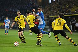 05.12.2014, Signal Iduna Park, Dortmund, GER, 1. FBL, Borussia Dortmund vs TSG 1899 Hoffenheim, 14. Runde, im Bild Roberto Firmino (TSG 1899 Hoffenheim #10) im Zweikampf gegen Sven Bender (Borussia Dortmund #6), Neven Subotic (Borussia Dortmund #4) und Mats Hummels (Borussia Dortmund #15) // during the German Bundesliga 14th round match between Borussia Dortmund and TSG 1899 Hoffenheim at the Signal Iduna Park in Dortmund, Germany on 2014/12/05. EXPA Pictures © 2014, PhotoCredit: EXPA/ Eibner-Pressefoto/ Schueler<br /> <br /> *****ATTENTION - OUT of GER*****