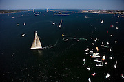 Ranger and Velsheda in pre-start maneuvers during the J Class Regatta in Newport, Rhode Island.
