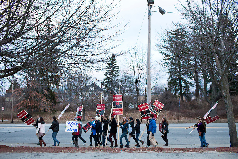 A group of high school students from Mamaroneck High School in Mamaroneck, New York, marches down Elm Street in support of Republican presidential candidate Jon Huntsman on Sunday, January 8, 2012 in Manchester, NH. The students were on a field trip as part of an AP Government class. Brendan Hoffman for the New York Times