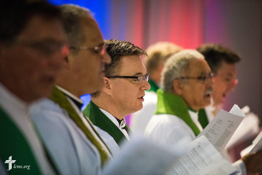 The Rev. Christopher Esget, LCMS sixth vice-president and pastor of Immanuel Evangelical-Lutheran Church in Alexandria, Va. worships during the Opening Divine Service of the 66th Regular Convention of The Lutheran Church–Missouri Synod on Saturday, July 9, 2016, at the Wisconsin Center in Milwaukee. LCMS/Michael Schuermann
