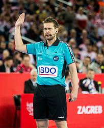 Referee Lars Geipel of Germany during handball match between National teams of Croatia and France on Day 7 in Main Round of Men's EHF EURO 2018, on January 24, 2018 in Arena Zagreb, Zagreb, Croatia.  Photo by Vid Ponikvar / Sportida