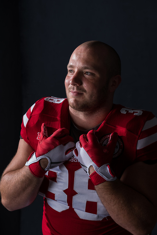 HARRISON JORDAN #38 during a portrait session at Memorial Stadium in Lincoln, Neb. on June 7, 2017. Photo by Paul Bellinger, Hail Varsity