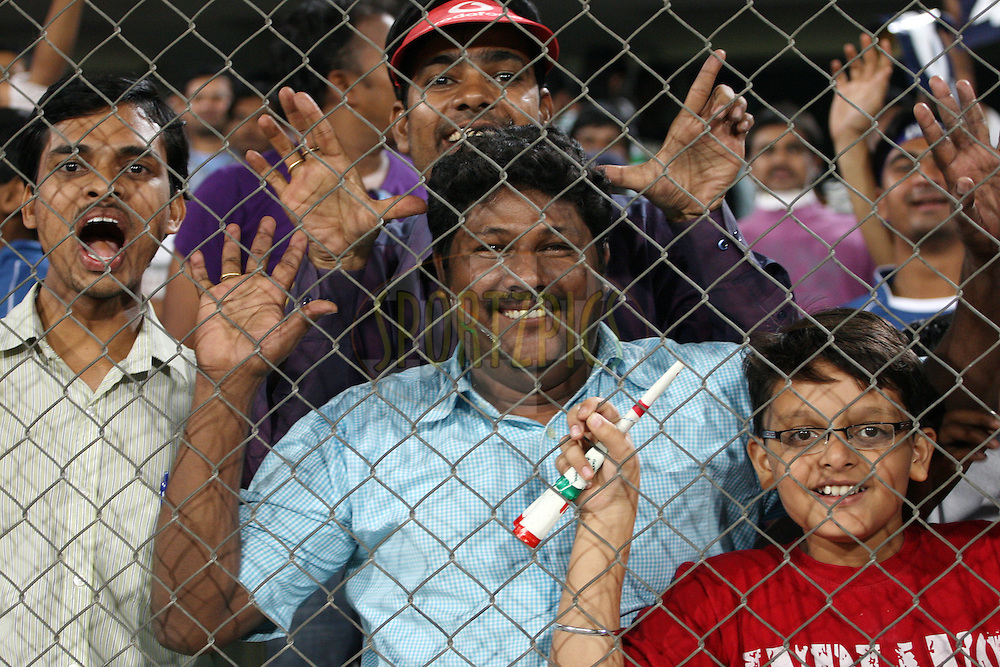 Spectators enjoying the atmosphere during match 68 of the the Indian Premier League ( IPL) 2012  between The Deccan Chargers and the Rajasthan Royals held at the Rajiv Gandhi Cricket Stadium, Hyderabad on the 18th May 2012..Photo by Jacques Rossouw/IPL/SPORTZPICS