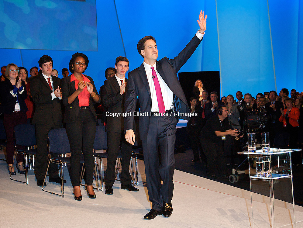 Ed Miliband during his speech during the Labour Party Conference in Manchester, October 2 2012, Photo by Elliott Franks / i-Images