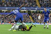 Chelsea defender Fikayo Tomori (29) collides with Valencia forward Rodrigo Moreno (19) during the Champions League match between Chelsea and Valencia CF at Stamford Bridge, London, England on 17 September 2019.