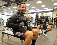 GLENDALE, ARIZONA - FEBRUARY 20:  Jose Abreu #79 of the Chicago White Sox works out in the weight room during spring training on February 20, 2018 at Camelback Ranch in Glendale Arizona.  (Photo by Ron Vesely)  Subject:   Jose Abreu