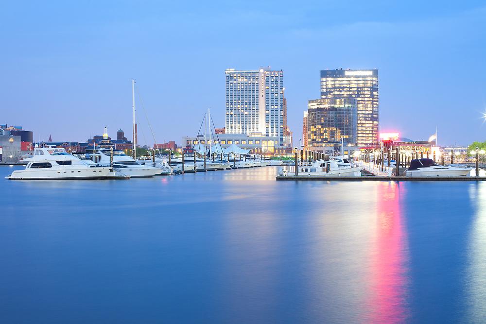 Marina at Inner Harbor in Baltimore at night, Maryland, USA
