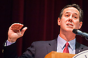 21 FEBRUARY 2012 - PHOENIX, AZ:  Former US Senator and Republican Presidential candidate RICK SANTORUM speaks at the Maricopa County Lincoln Day lunch in Phoenix. Santorum was in Phoenix Tuesday for an Arizona Republican party leadership luncheon ahead of the state's Republican Presidential Primary election and a CNN Republican Presidential Primary debate, which is Wednesday, Feb. 22.   PHOTO BY JACK KURTZ