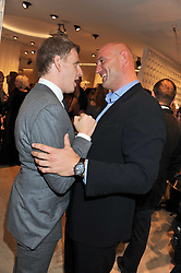 Left to right, PATRICK KIELTY and LAWRENCE DALLAGLIO at the launch of the Spencer Hart Flagship store, Brook Steet, London on 13th September 2011.