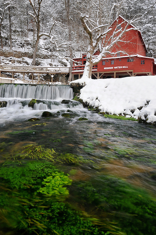 A wintery Hodgson Mill, Ozark County, Missouri.