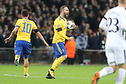 Juventus striker Gonzalo Higuain (9) celebrating after scoring goal during the Champions League match between Tottenham Hotspur and Juventus FC at Wembley Stadium, London, England on 7 March 2018. Picture by Matthew Redman.
