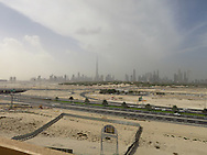 View of the Dubai skyline - yes that's all sand. Dubai, United Arab Emirates