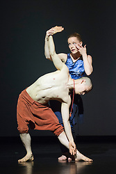 """© Licensed to London News Pictures. 22/06/2014. London, England. Guro Nagelhus Schia and Kazutomi """"Tsuki"""" Kozuki perform """"Matter"""". Dress rehearsal of Eastman-Sidi Larbi Cherkaoui's """"4D"""". 4D is part of Sadler's Sampled, a two week taster festival of dance at low prices (standing tickets from GBP 8), which runs to 29 June 2014 at Sadler's Wells, London. Photo credit: Bettina Strenske/LNP"""