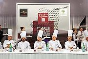 Un jury compose  de chef patissier de renoms s'appretent a deguster les creations d'un laureat, Coupe du Monde de Patisserie, Salon Sirha, Lyon, janvier 2015.