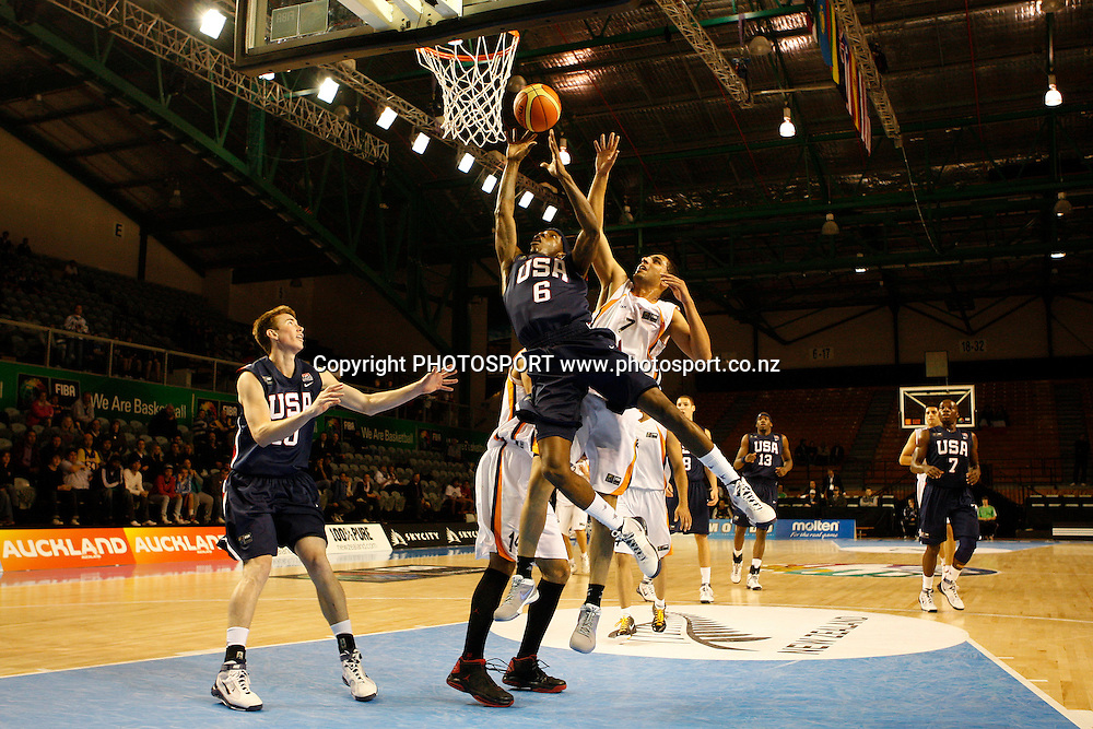 USA Guard Tyshawn Taylor lays up during the USA's 106-55 victory over Iran.<br />