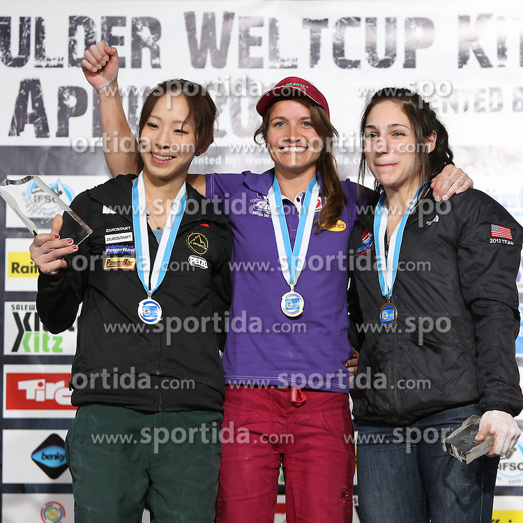 27.04.2013, Mercedes Sportpark, AUT, IFSC, Boulder Weltcup, Kitzrock, im Bild Podium vl.: zweite Akiyo Noguchi (JPN), Siegerin Anna Stoehr (AUT) und dritte Alex Puccio (USA) // fl. second placed Akiyo Noguchi (JPN), Winner Anna Stoehr (AUT) and third placed Alex Puccio (USA) on Podium after IFSC Boulder Worldcup, Kitzrock at the Mercedes Sportpark, Kitzbuehel, Austria on 2013/04/27. EXPA Pictures © 2013, PhotoCredit: EXPA/ Juergen Feichter