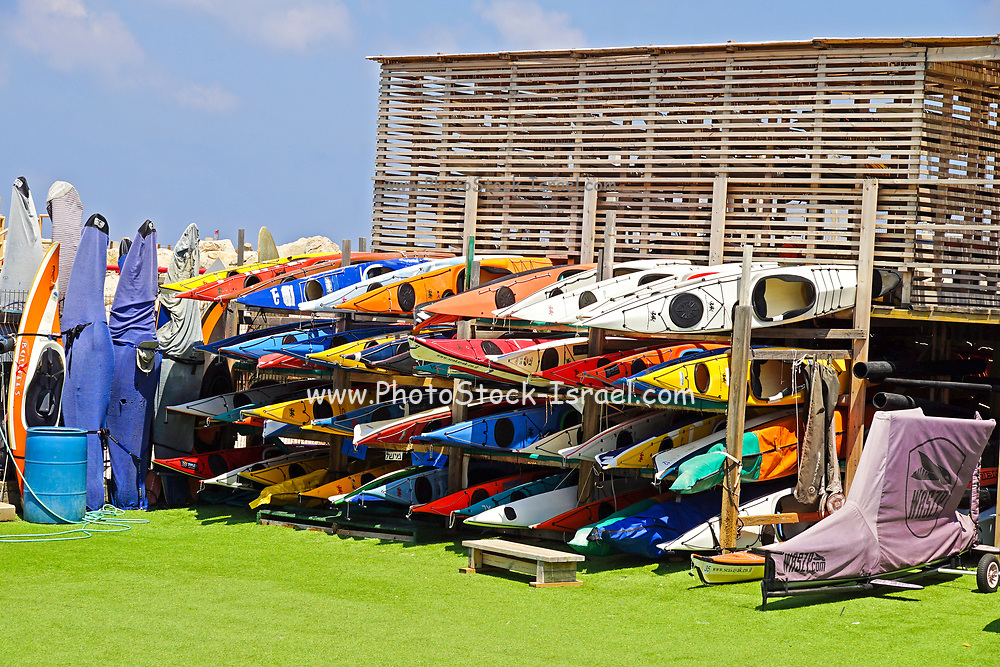 Kayaks at the Herzliya Yacht club, Israel