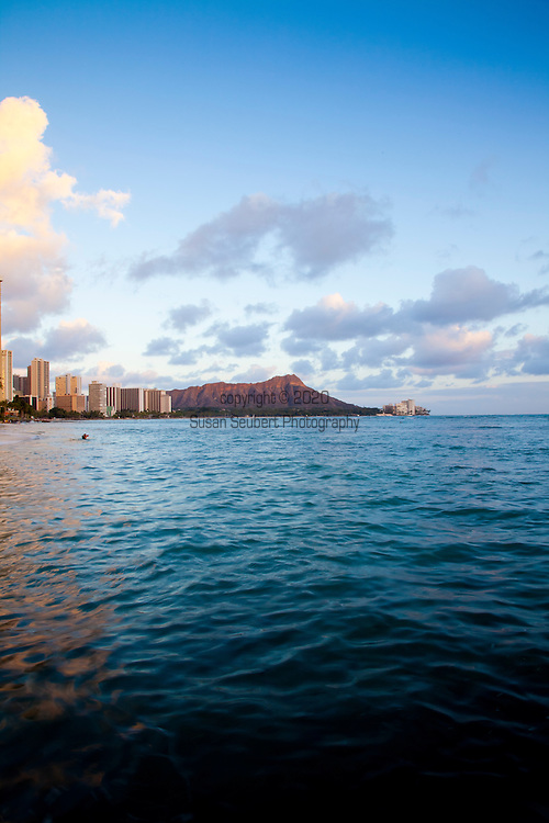 Diamond Head as seen from Waikiki Beach at sunset, Oahu, HI