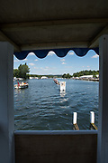 Henley-on-Thames. United Kingdom.  2017 Henley Royal Regatta, Henley Reach, River Thames. <br /> General view down the regatta course from the progress board.<br /> <br /> 13:35:07  Sunday  02/07/2017   <br /> <br /> [Mandatory Credit. Peter SPURRIER/Intersport Images.