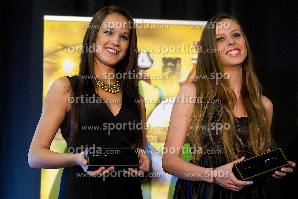 Miss Uruguay and Miss Argentina as Miss World contestants from the quarter finals FIFA World Cup 2010 at AIPS glamour event on June 30, 2010 at Nelson Mandela Square in Sandton Convention Centre in Johannesburg. (Photo by Vid Ponikvar / Sportida)