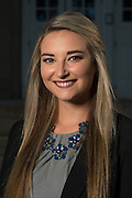Miranda Oxbrough poses for a portrait in front of Ohio University's Memorial Auditorium as part of the College of Business's Emerging Leaders program on September 21, 2016.