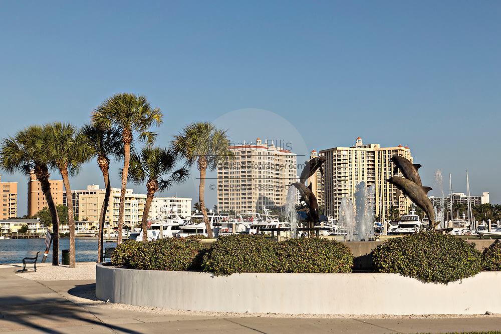 Skyline and Dolphin Fountain Bayfront Park Sarasota, Florida