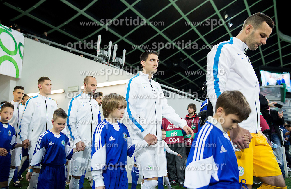 Valter Birsa of Slovenia, Miso Brecko of Slovenia, Branko Ilic of Slovenia and Samir Handanovic of Slovenia prior to the football match between NationalTeams of Slovenia and San Marino in Round 5 of EURO 2016 Qualifications, on March 27, 2015 in SRC Stozice, Ljubljana, Slovenia. Photo by Vid Ponikvar / Sportida