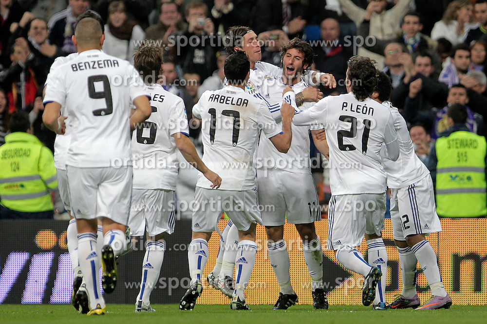 10.11.2010, Estadio Santiago Bernabeu, Madrid, ESP, Spanish Kings Cup, Real Madrid vs Real Murcia, im Bild Real Madrid's Karim Benzema, Sergio Canales, Alvaro Arbeloa, Sergio Ramos, Esteban Granero, Pedro Leon and Marcelo Vieira celebarte goal during King's Cup match.November 10,2010. EXPA Pictures © 2010, PhotoCredit: EXPA/ Alterphotos/ Acero +++++ ATTENTION - OUT OF SPAIN / ESP +++++