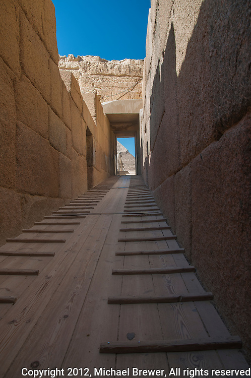 Looking down the original entrance corridor to the causeway to Chephren's pyramid, Giza, Egypt.