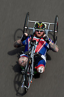 LONDON UK 29TH JULY 2016:  Clive Smith (GBR). Prudential RideLondon Handcycle Grand Prix at the London Velo Park. Prudential RideLondon in London 29th July 2016<br /> <br /> Photo: Bob Martin/Silverhub for Prudential RideLondon<br /> <br /> Prudential RideLondon is the world&rsquo;s greatest festival of cycling, involving 95,000+ cyclists &ndash; from Olympic champions to a free family fun ride - riding in events over closed roads in London and Surrey over the weekend of 29th to 31st July 2016. <br /> <br /> See www.PrudentialRideLondon.co.uk for more.<br /> <br /> For further information: media@londonmarathonevents.co.uk