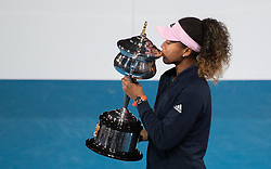 BEIJING, Jan. 27, 2019  Naomi Osaka of Japan kisses the trophy during the trophy awarding ceremony after the women's singles final match between Naomi Osaka of Japan and Petra Kvitova of the Czech Republic at 2019 Australian Open in Melbourne, Australia, Jan. 26, 2019. (Credit Image: © Xinhua via ZUMA Wire)
