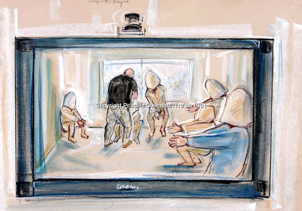 ©Priscilla Coleman ITV News.Supplied by: Photonews Service Ltd Old Bailey.Pic shows: Video shown during war crimes trial at Bulford today (20.09.06) showin treatment of prisoners..Illustration: Priscilla Coleman ITV News