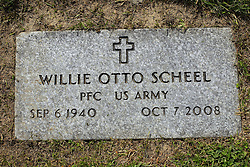 31 August 2017:   Veterans graves in Park Hill Cemetery in eastern McLean County.<br /> <br /> Willie Otto Scheel  Private First Class US Army  Sep 6 1940  Oct 7 2008
