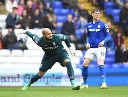 Birmingham City's Darren Randolph in action during the Sky Bet Championship match between Birmingham City and Rotherham United at St Andrew's Stadium on 3 April 2015 in Birmingham, England - Photo mandatory by-line: Paul Knight/JMP - Mobile: 07966 386802 - 03/04/2015 - SPORT - Football - Birmingham - St Andrew's Stadium - Birmingham City v Rotherham United - Sky Bet Championship