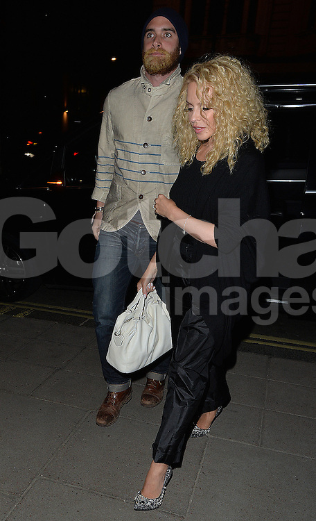 Kylie Minogue and fianc&eacute; Joshua Sasse at the Dorchester Hotel in London, UK. 23/04/2016<br />