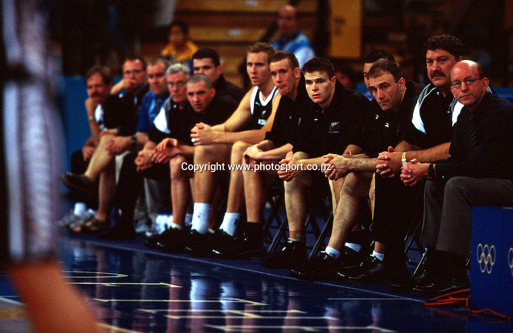 The Tall Blacks bench during the Men's basketball match between the New Zealand Tall Blacks and France at the Olympics in Sydney, Australia on 17 September, 2000. Photo: PHOTOSPORT<br />