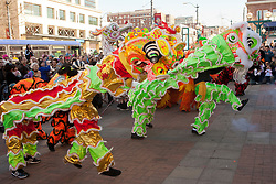 United States, Washington, Seattle, lion dance at Chinese New Year festival in Chinatown/International District
